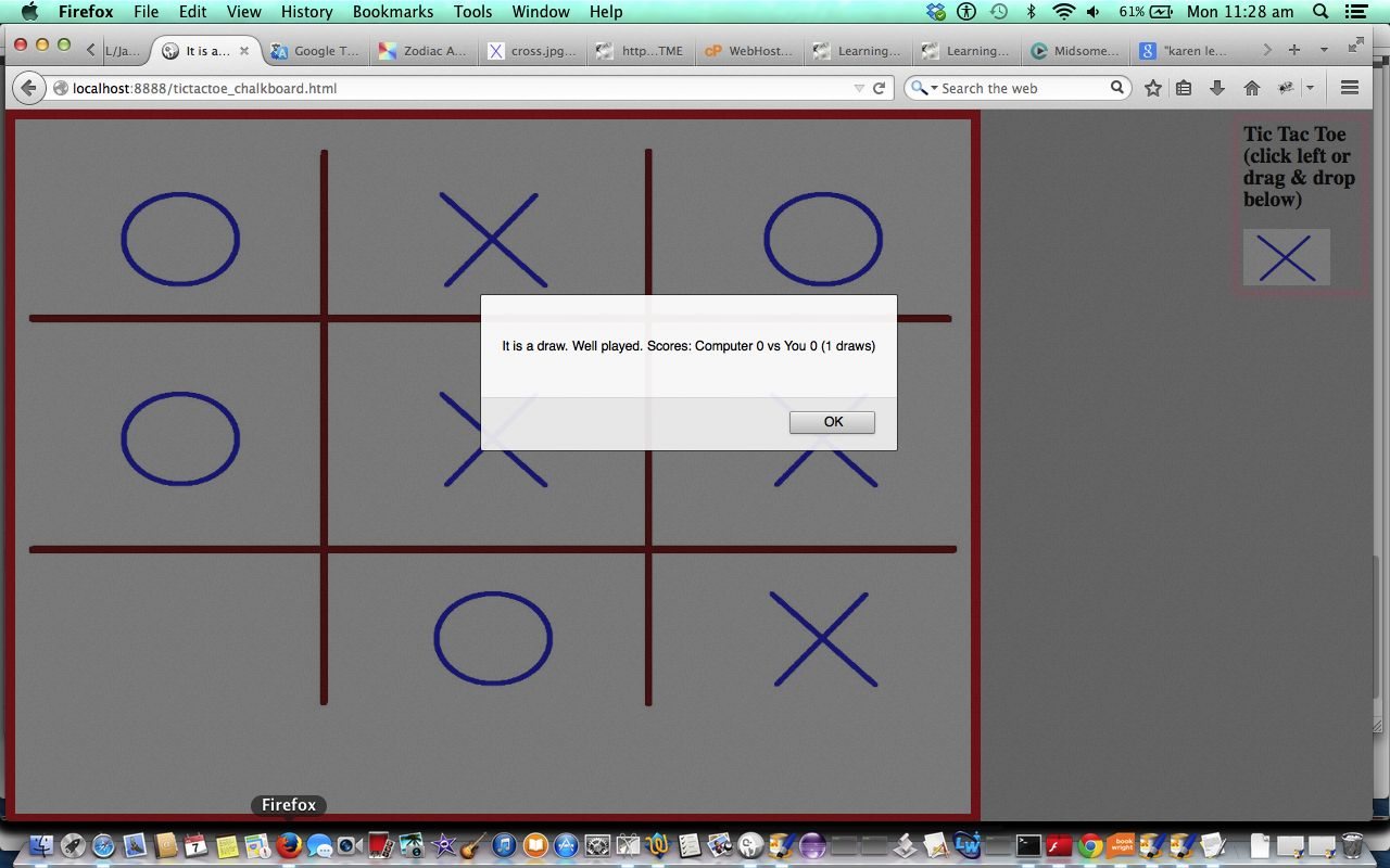 HTML/Javascript Canvas Tic Tac Toe Game Drag and Drop Tutorial