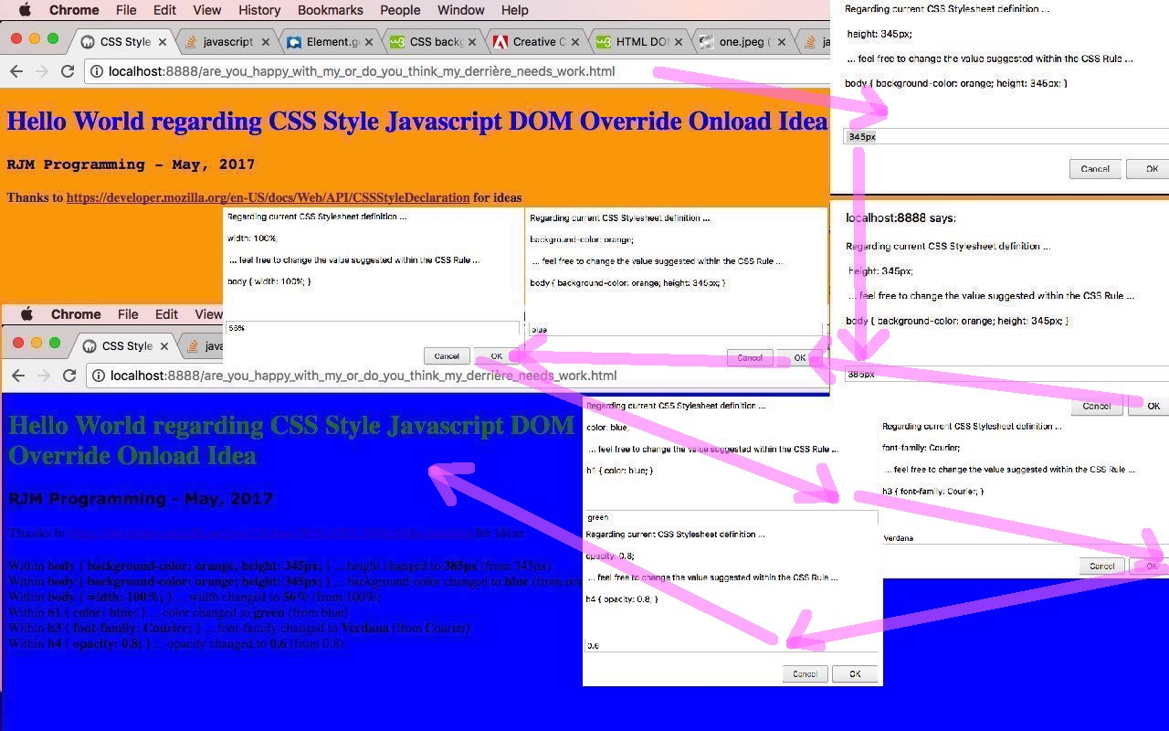 CSS Style Javascript DOM Override Onload Primer Tutorial