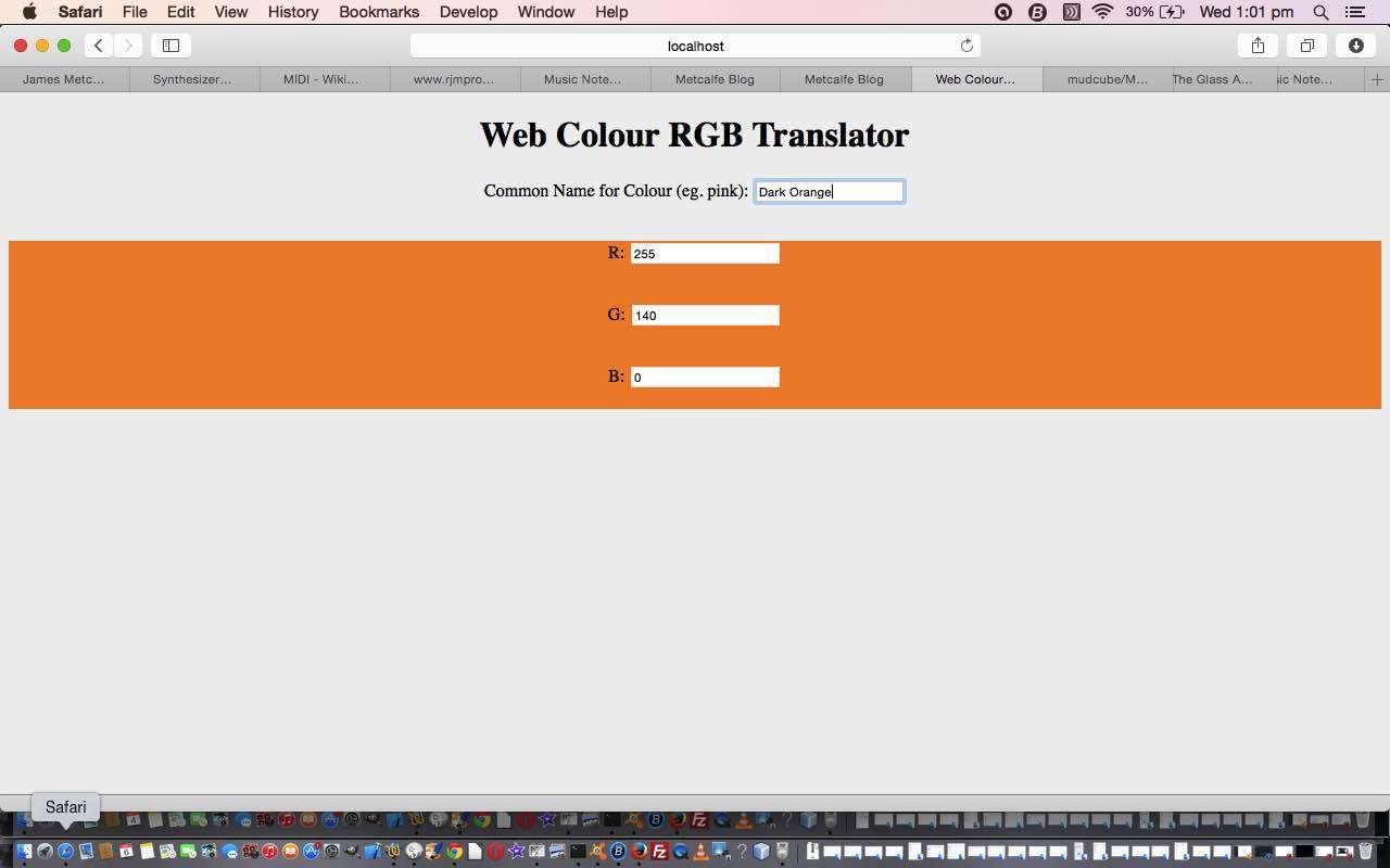 HTML/Javascript Colour Name Translation into RGB Tutorial
