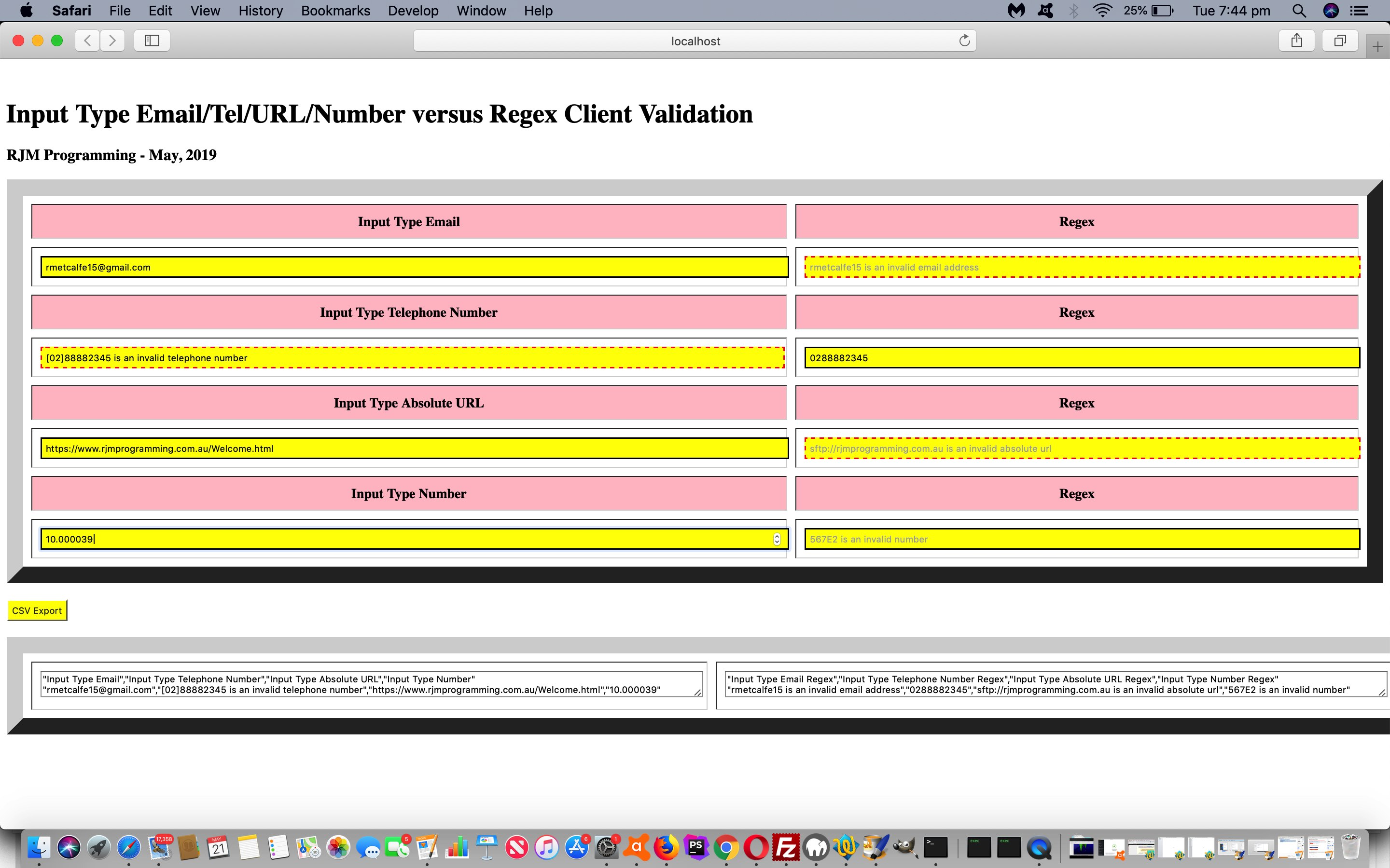 HTML CSV Report Validation via Client Input or Regular Expression Tutorial