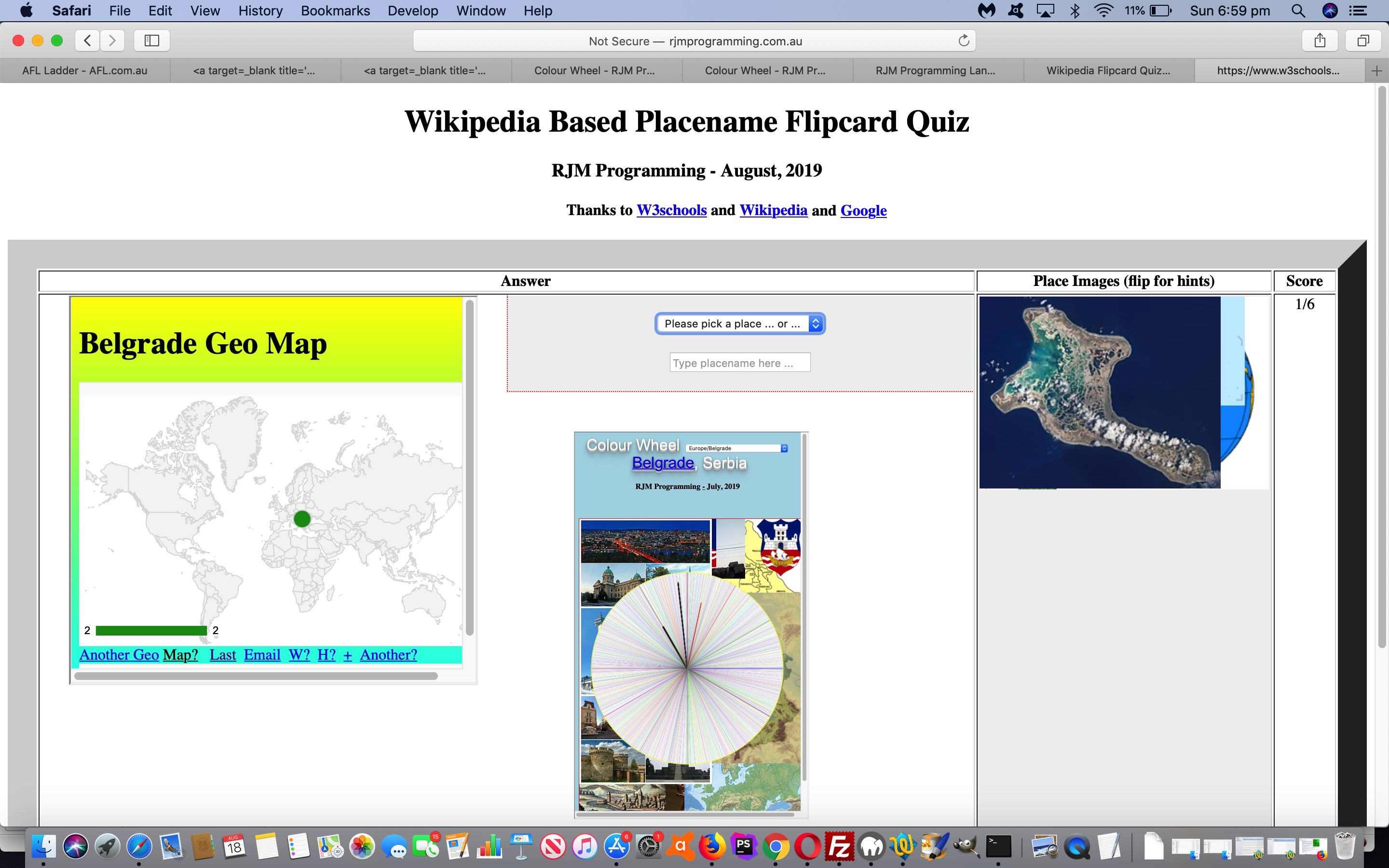 Wikipedia Flipcard Quiz Google Charts Tutorial
