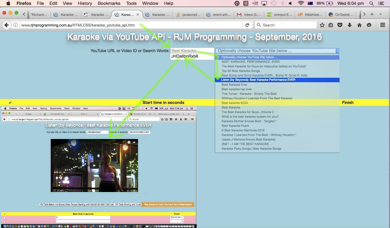 Karaoke via YouTube API in Iframe jQuery Ajax Tutorial