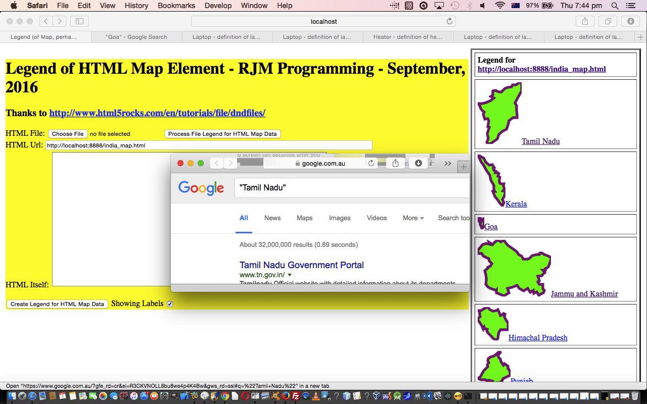 Legend for and from HTML Map Element Primer Tutorial