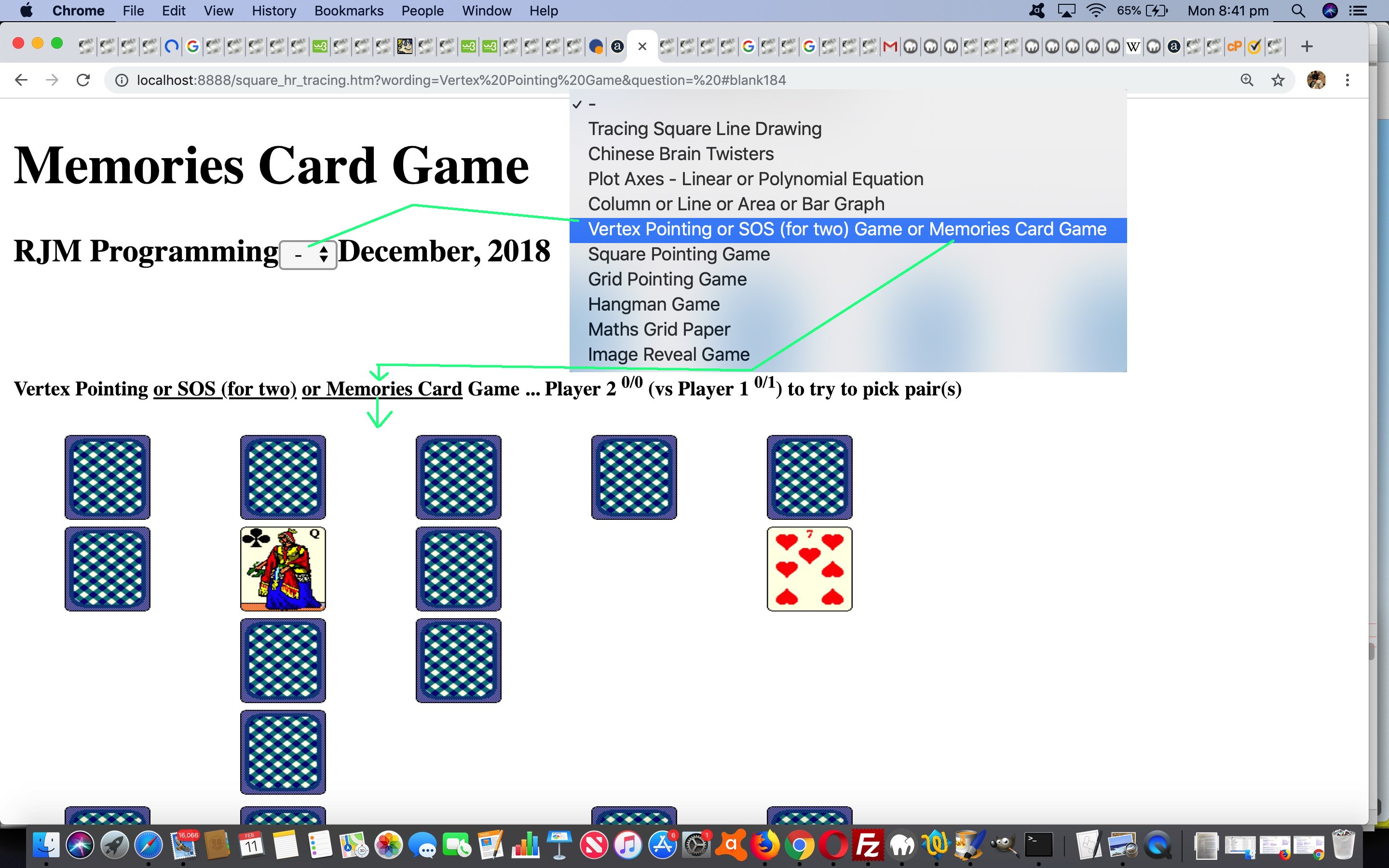 HTML Square Horizontal Rule Memories Card Game Tutorial