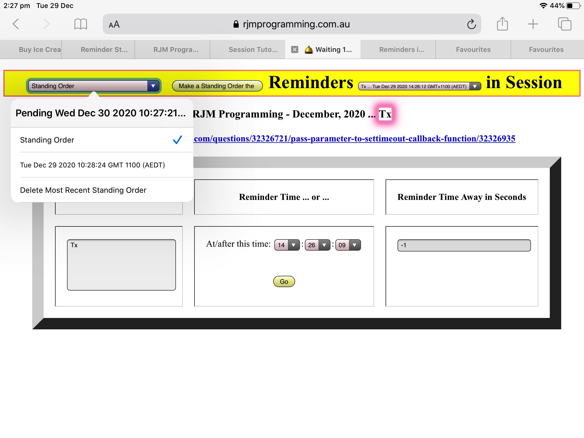 Dynamic Timer Web Browser Reminder Standing Order Date Tutorial