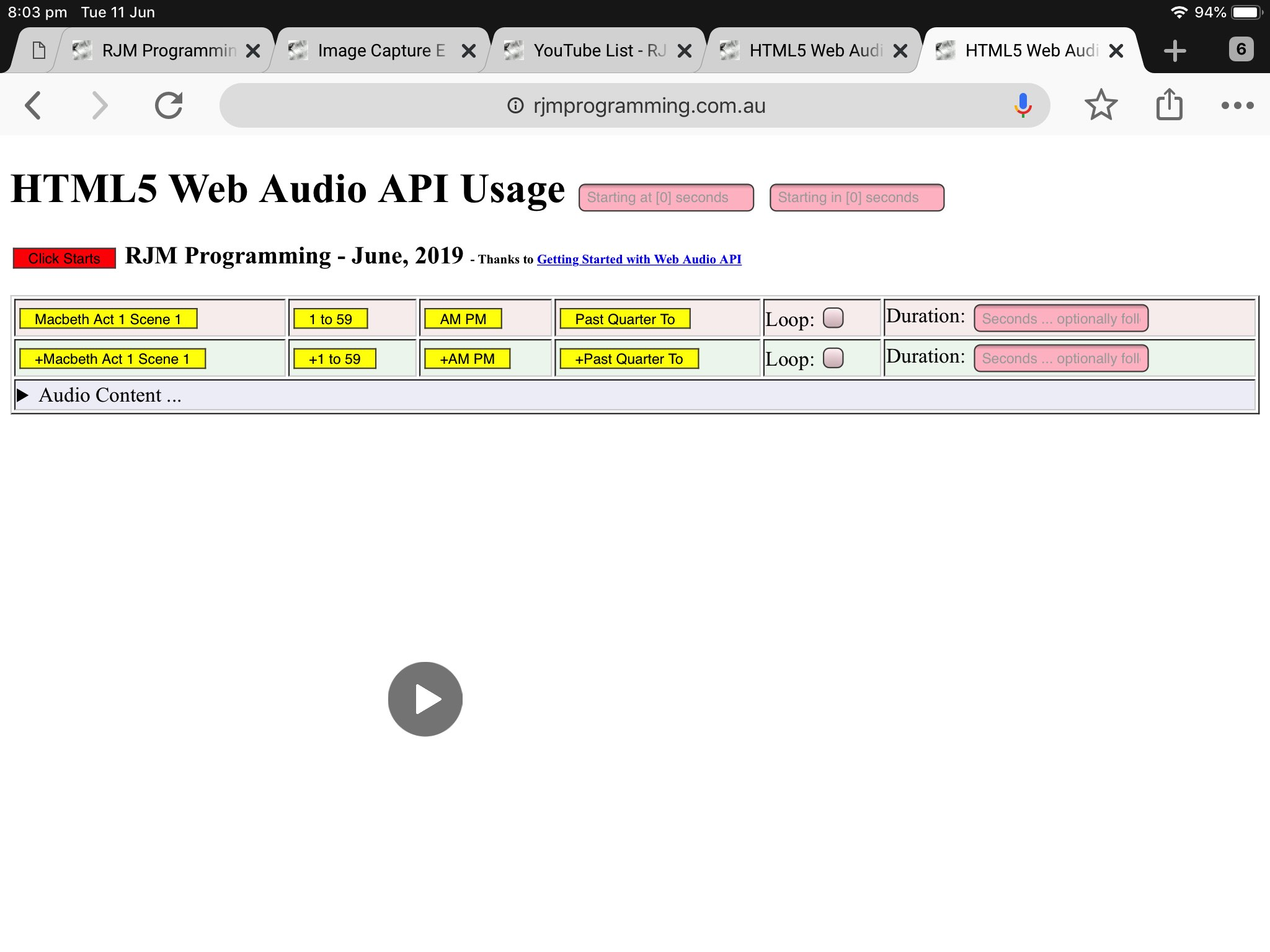 HTML5 Web Audio Mobile Tutorial