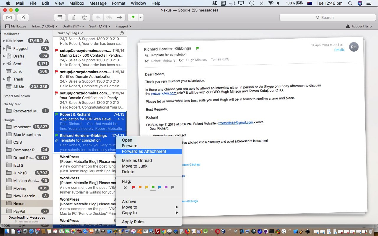 Mac OS X Mail Multiple Thread Whole Email Attachments Tutorial