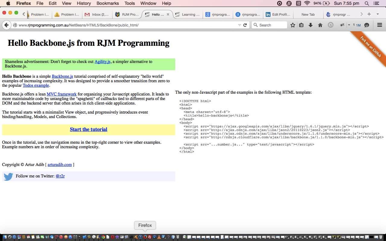 NetBeans Backbone js HTML5 Web Application Primer Tutorial | Robert