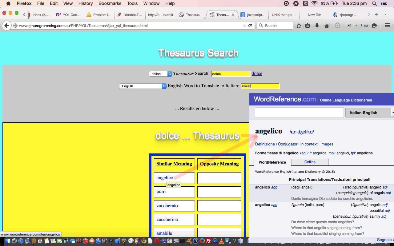 Yahoo YQL JSON Thesaurus and Translation Tutorial