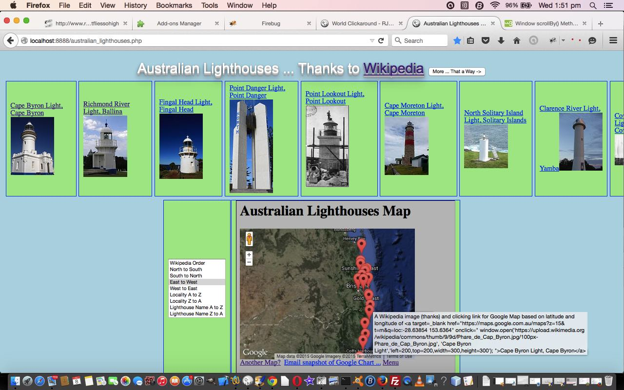 PHP/Javascript Asynchronous Lighthouses in Australia Tutorial