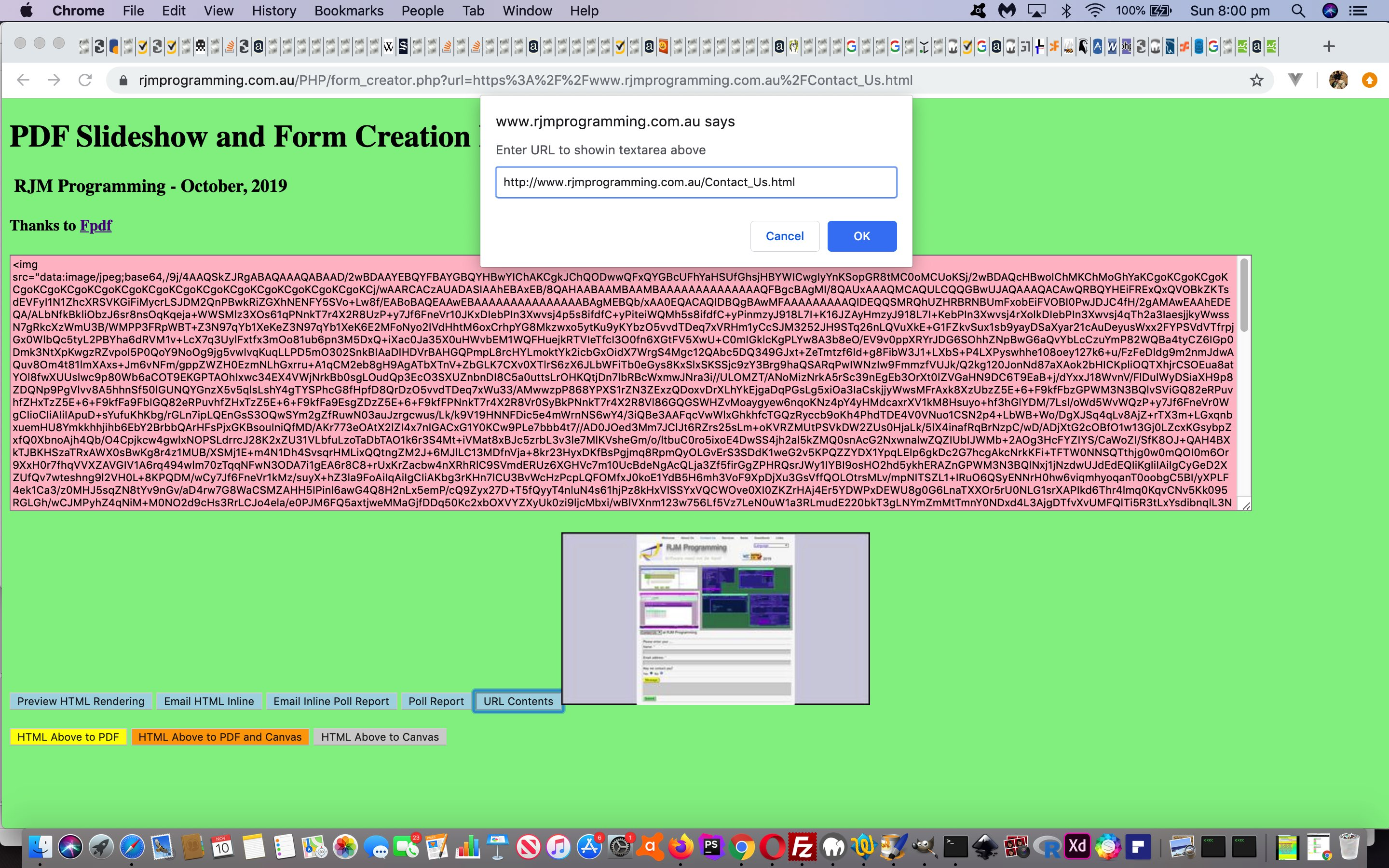 PDF Slideshow and Form Creation Data URI Contents Tutorial