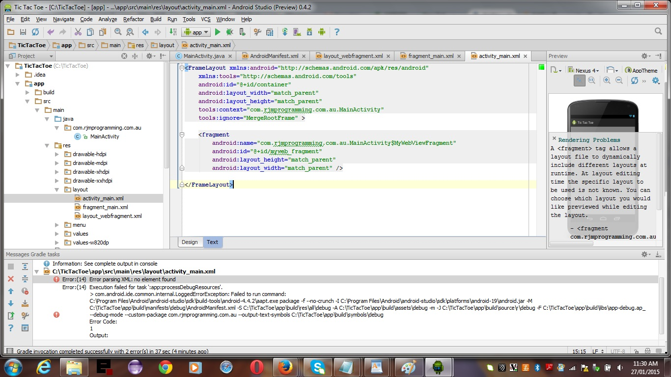 AndroidStudio TicTacToe Slide 1 of 26