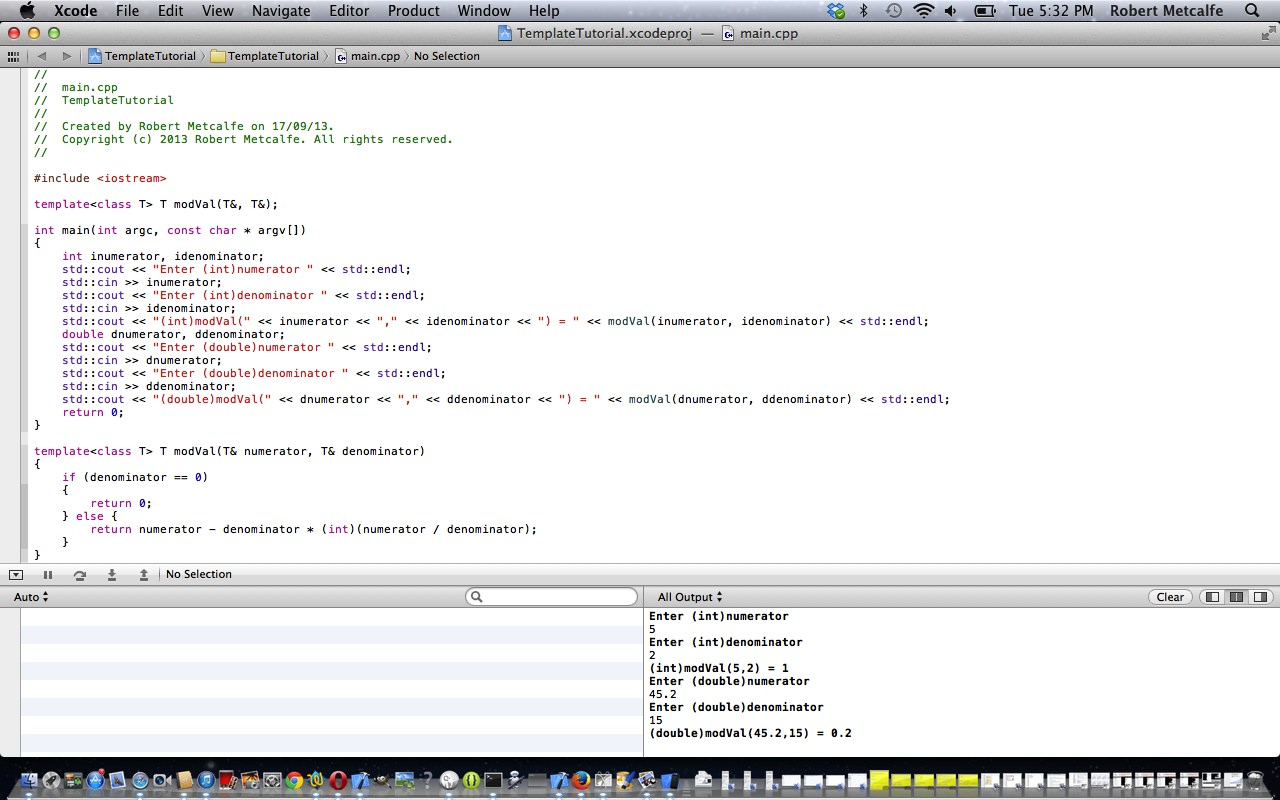 C++ Xcode OOP Function Template Primer Tutorial | Robert Metcalfe Blog
