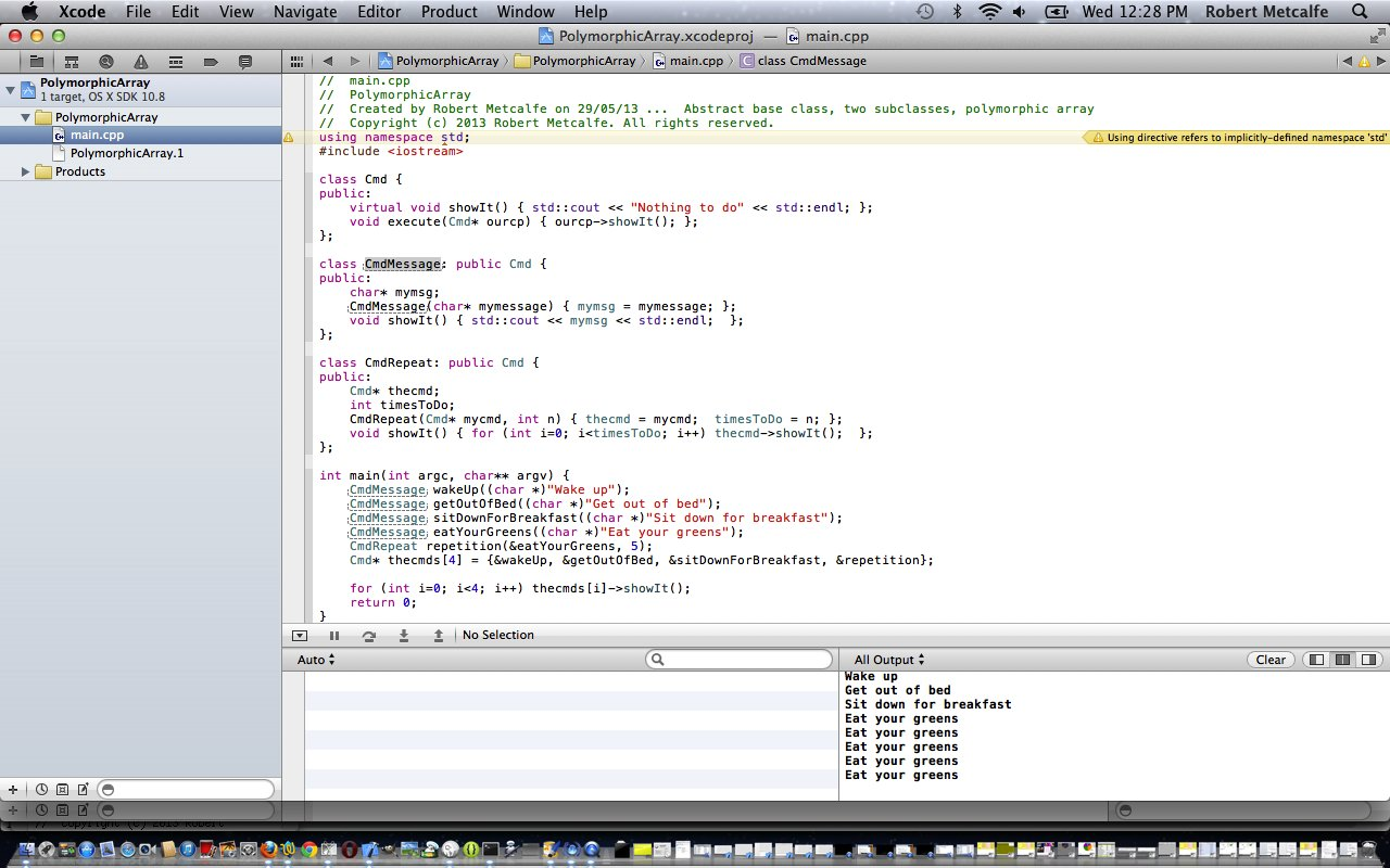 Xcode objective c polymorphic array primer tutorial robert c xcode oop polymorphic array tutorial baditri Image collections