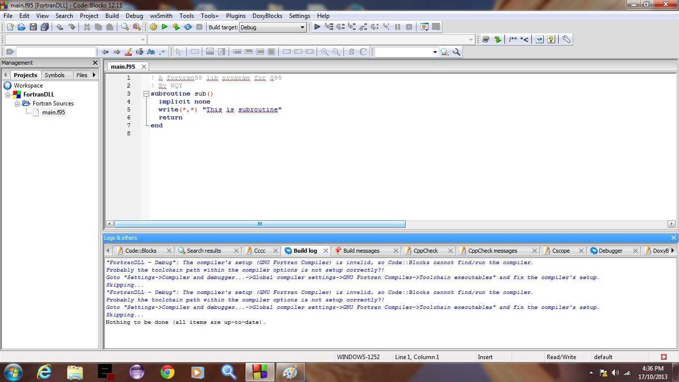 CodeBlocks Fortran Primer Slide 1 of 47