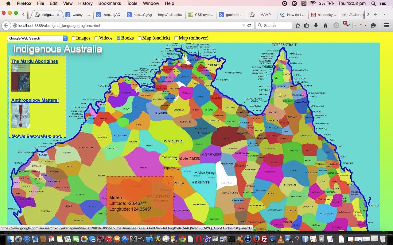 Australian Indigenous Language HTML Map JQuery YQL Tutorial - Australian language map
