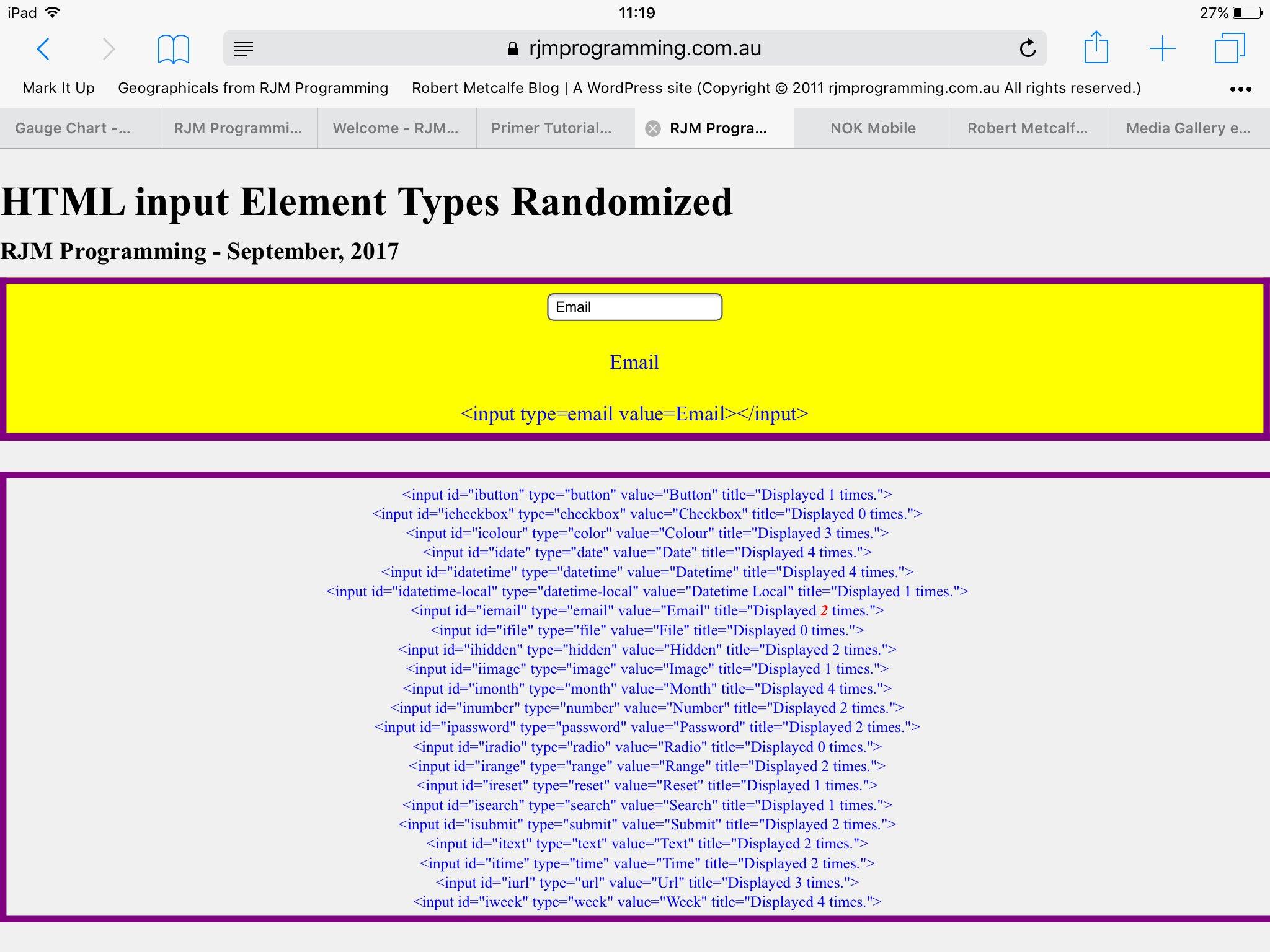 HTML Input Element Types Randomized History Tutorial