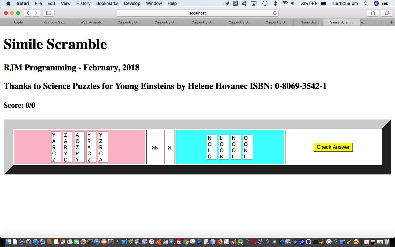Simile Scramble Word Game Primer Tutorial Robert James Metcalfe Blog