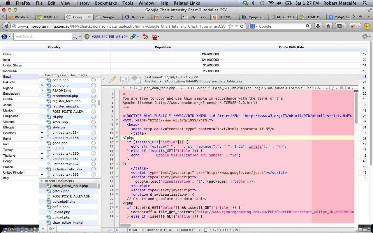 PHP/Javascript/HTML Google Chart JSON Data Table Import of