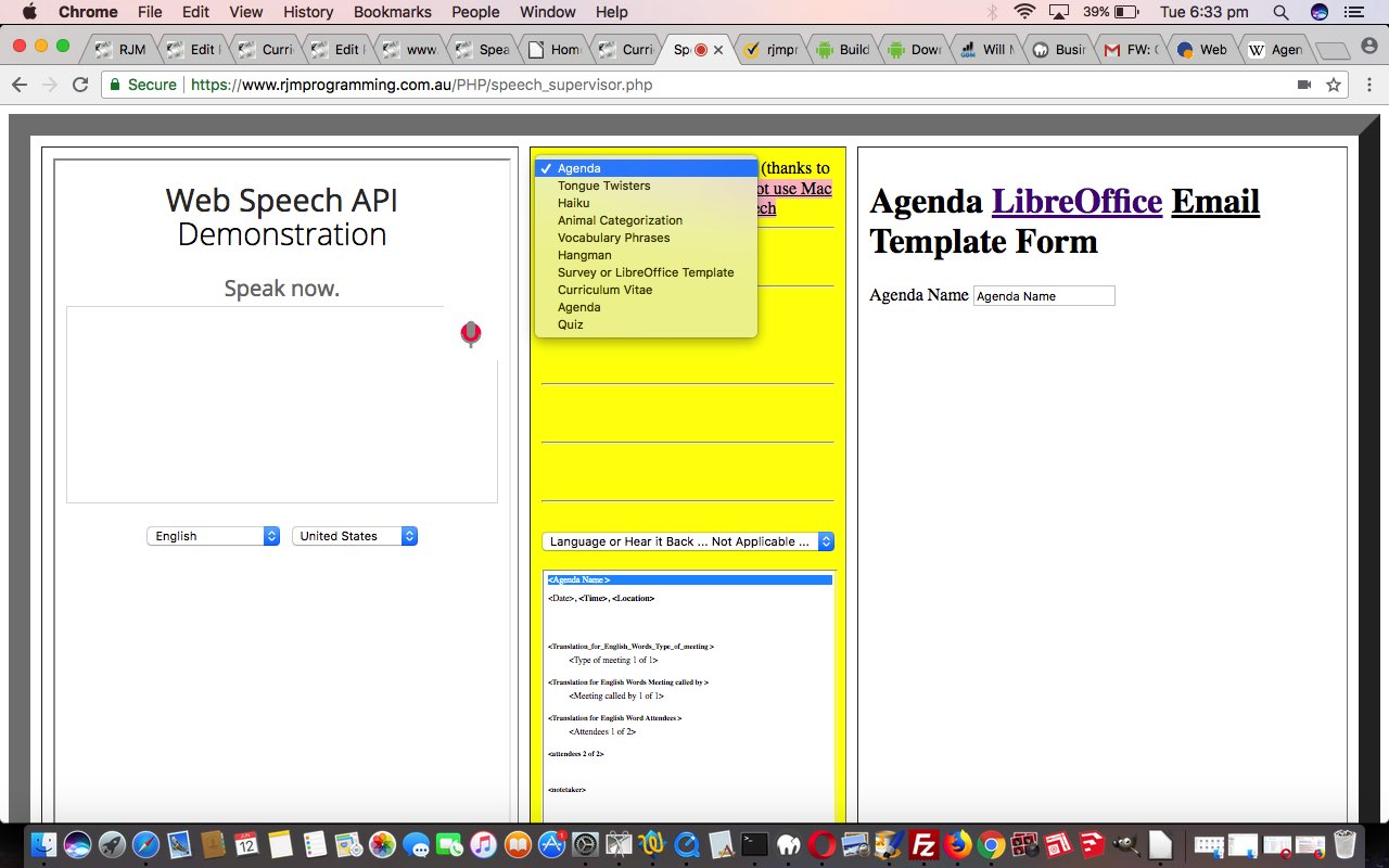 Agenda Speech to Text to Speech LibreOffice Wizard Tutorial