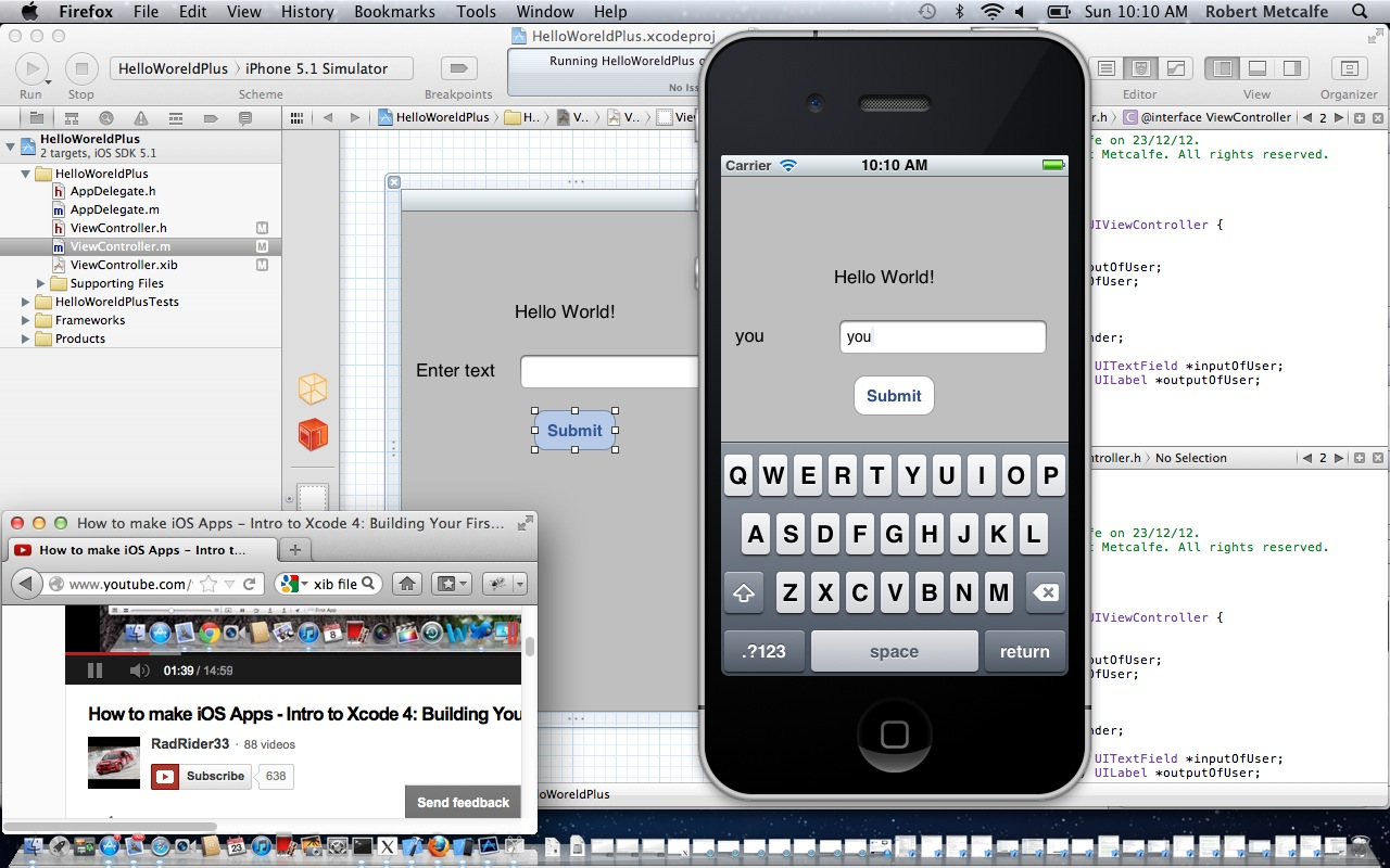 Hello World iPhone 5 app (simulated) ... yay!